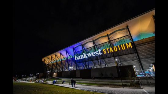 New Bankwest Stadium external signs light up Parramatta for the first time