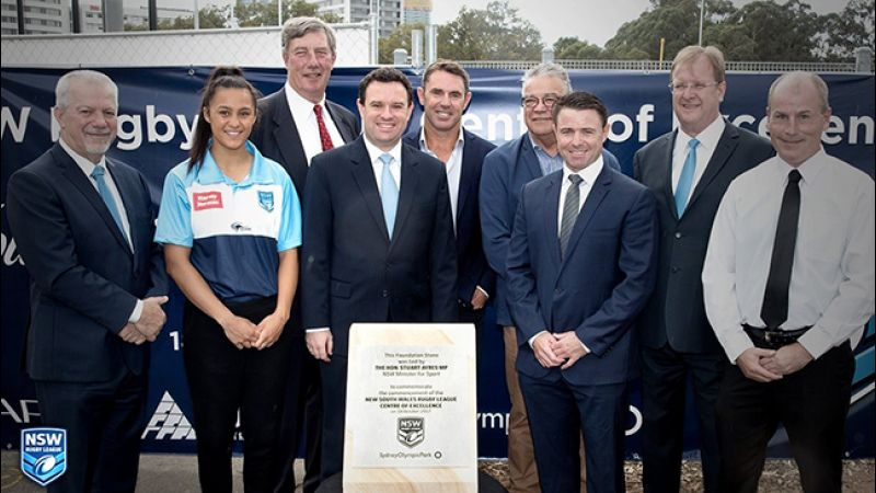 NSW Sports Minister Stuart Ayres, NSWRL Chairman Dr George Peponis, CEO David Trodden,  NRL Legend Brad Fittler and Jillaroo Kezie Apps lay the Foundation Stone for the high-performance facility..